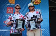 """<div class=""""source"""">photo submitted</div><div class=""""image-desc"""">Campbellsville University&#039;s Bradley Dunagan, left, and Nick Ratliff pose for photos with their awards after catching 18-plus pounds in the third round of the Bassmaster National Championship.</div><div class=""""buy-pic""""><a href=""""/photo_select/67397"""">Buy this photo</a></div>"""