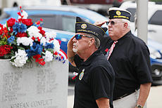 "<div class=""source"">photo/JEFF MORELAND</div><div class=""image-desc"">Gregg Parent, left, and Bobby Baker, with American Legion Post 82 salutes as a new American flag is raised during Monday's community Memorial Day celebration.</div><div class=""buy-pic""><a href=""/photo_select/67092"">Buy this photo</a></div>"