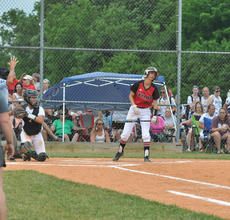 """<div class=""""source"""">photo/JOSH CLAYWELL</div><div class=""""image-desc"""">Taylor County's Sydnee Beard reacts to the umpire's call during Monday's game against Green County.</div><div class=""""buy-pic""""><a href=""""/photo_select/67076"""">Buy this photo</a></div>"""