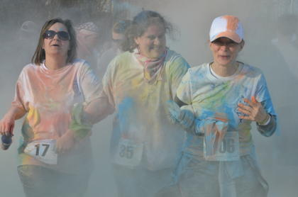 "The colors were flying at Miller Park on Saturday. Donna Wise, Will Patton, Katie Irwin and Jenny Jessie hosted the first Color to Conquer 5K Walk and Run on Saturday, March 16, with money raised going toward the annual St. Baldrick's fundraiser to support children's cancer research. Runners paid entry fees and donations were accepted. The nearly 500 participants were ""splashed"" at two color stations as they ran and walked through the course. St. Baldrick's is Saturday, March 23, at 11 a.m. at Campbellsville University's Powell Athletic Center. To register, visit www.stbaldricks.org and search for Campbellsville. Registration forms are also available at The Green Room, Campbellsville Apparel and Campbellsville University's Hawkins Athletic Complex."