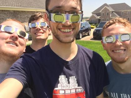Submitted from the Facebook profile of TJ Rayhill CU students TJ Rayhill , Andrew Beal, Matt Farthing and Alum Aaron Nosich head to Hopkinsville to be in the path of totality. Awesome experience!
