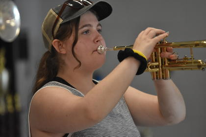 TCHS trumpet player Porscha Force concentrates on perfecting her technique during this summer's opening day of band camp.