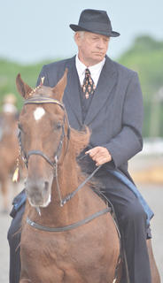 Joe Allen Hays of Parksville rides in the Tommie Johns horse show.