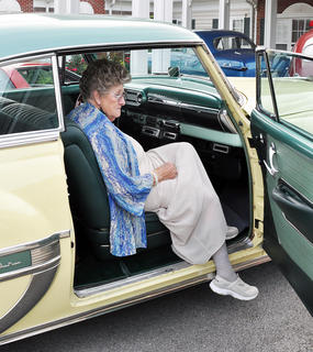 Virginia Grant went for a ride in a 1954 Chevrolet at Bluegrass Way Assisted Living prom on Saturday.