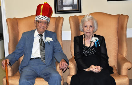 Bluegrass Way Assisted Living residents Milton Shuffett and Doris Holt were voted king and queen at the prom on Saturday.
