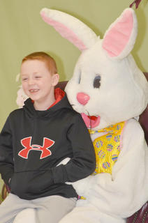 Bryten Close of Campbellsville shares a laugh with the Easter Bunny.