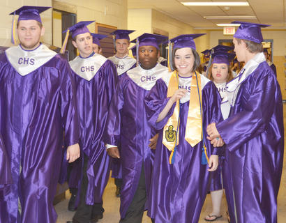 Forty-four students graduated from Campbellsville High School on Saturday. Here, the graduates spend their last moments together as high school students.