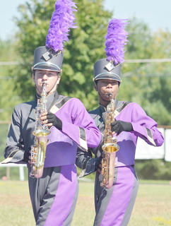 Anthony Drew, at left, and Kalup Cowan play saxophone for the CHS band.