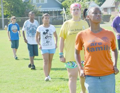 Campbellsville High School marching band members, from back to front, Murphy Lamb, Kalup Cowan, Claudia Rogers, Rebekah Cowherd and Takishia Clayton practice fundamentals on Tuesday. Camp was July 16-20.