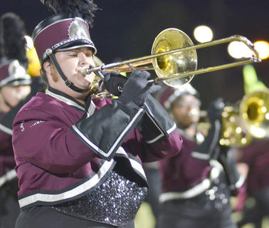 Tyler Bland, CU trombone player and TCHS graduate, plays with the CU marching band.