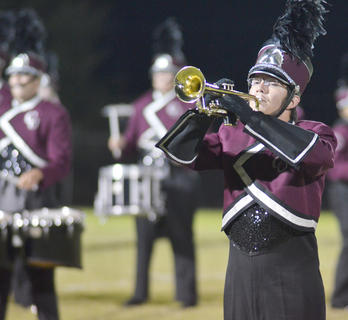 Benjamin Gaona of Springfield plays trumpet for the CU marching band.