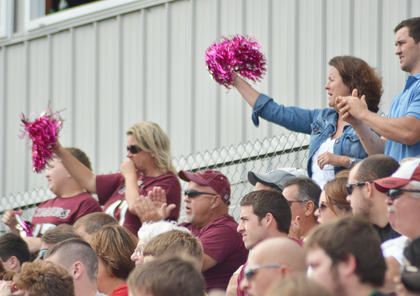 Fans cheer for the Tigers during Saturday's football game against Lindsey Wilson College. The Tigers won the game 28-23.