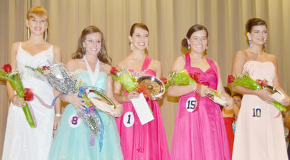 Brittany Salmon, second from left, was named Taylor County's 2013 Distinguished Young Woman on Saturday night and also took home talent and fitness awards. Other winners are, from left, scholastic winner Angella Farmer; scholastic runner-up, self expression and interview winner and first runner-up Alyssa Young; Be Your Best Self, self expression, interview and talent winner and second runner-up Grace Arnold; and fitness winner and third runner-up Savannah Farmer.
