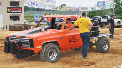 Contestants try to overpower one another in the Kentucky Truck Tuggers contest.