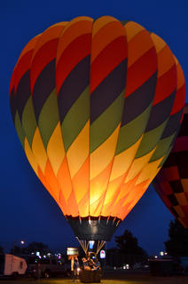 Hot air balloons light up the night at Tuesday night's balloon glow.