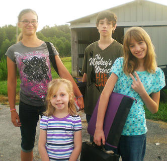 My children Ashlyn, Max, Claudia and Cecily on their first day back to school at Green County middle and primary schools.