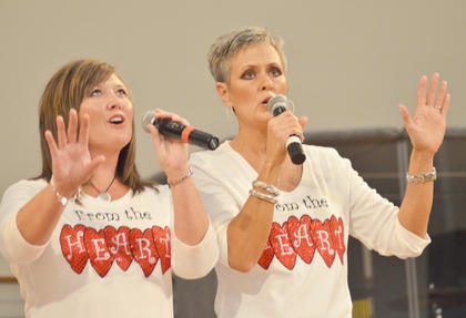 From the Heart members Krisinda Jeffries, at left, and Linda Mings perform.