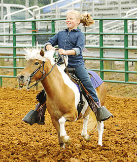 Breanna Sharp, 9, of Campbellsville, rides Cheyanne in the Youth Horse Show on Saturday.
