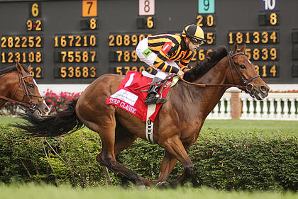 Little Mike wins the Woodford Reserve Turf Classic Saturday with jockey Joe Bravo up.