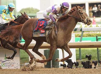 I'll Have Another, with jockey Mario Gutierrez up, wins Saturday's Kentucky Derby.