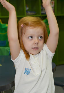 """Kyndall Southern dances as she sings """"Twinkle, Twinkle Little Star"""" along with her fellow Sonbeams students at KCA."""