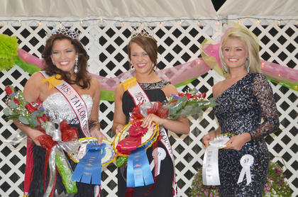 Kaleigh Brooke Campbell, at left, of Elizabethtown, was named this year's Miss Taylor County Fair on Tuesday night. Kate Gosser, middle, of Campbellsville, was named Miss Taylor County and first runner-up of the Taylor County Fair pageant. Allie Shae Hash, at right, of Campbellsville, was named third runner-up.