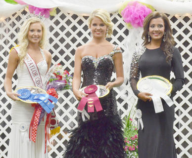 Destiny Guffey of Albany, at left, was named Miss Taylor County Fair. Cacie Wilson, middle, was named first runner-up and Carlee Knight was second runner-up.