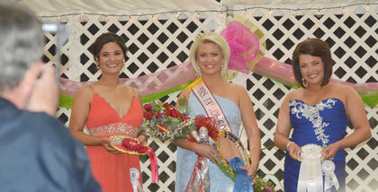 Winners of this year's Mrs. Taylor County Fair pageant are, from left, first runner-up Faun Lobb Crenshaw of Campbellsville, winner Jennifer White Bailey of Glasgow and second runner-up Amanda Gosser Bailey of Russell Springs.