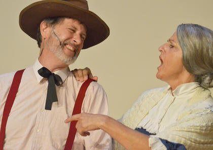 David Johnson of Campbellsville plays Andrew Carnes, Ado Annie's father, and Suzanne Bennett, formerly of Campbellsville, plays Aunt Eller.