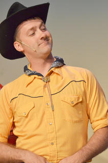 Chad Shively of Campbellsville portrays Will Parker, who competed to win $50 so he could marry his long-time love, Ado Annie. But Will found some trouble along the way and nearly lost his girl.