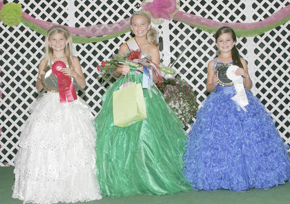 Miss Pre-Teen Taylor County Fair winners are, from left, first runner-up Brooklyn Grace Roller, winner Ashton Elizabeth Little and second runner-up Makencie Faith Woods.