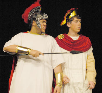 Odysseus, portrayed by Ozzie Delgado, at left, and Ajax, played by Jacob Lee, battle an enemy.