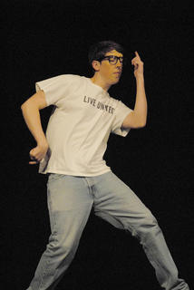 """Before """"SeussOdyssey,"""" TCHS drama students performed monologues. Here, Jacob Lee performs a dance from """"Napoleon Dynamite."""""""