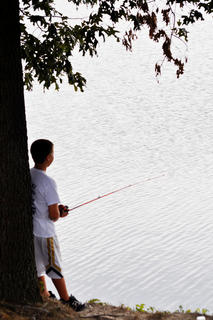 Stephen Thomas, 11, of Campbellsville waits patiently for a bite at the Sportsman Club's kids' bluegill tournament Saturday morning at City Lake.