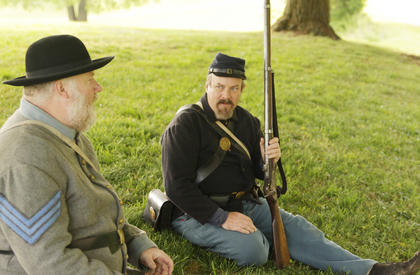 Bryan Taylor, left, of Pelton in Adair County, and Bruce Loveall of Greensburg were two of the Civil War re-enactors who participated.
