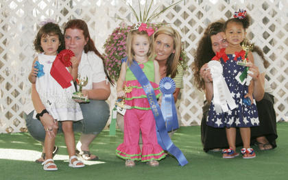 Winners of the Miss and Mister Toddler Taylor County Fair pageant are, in the 2-year-old girls category, from left, first runner-up was Isabella Faith Acosta, winner was Alexis Kennedi Burton and second runner-up was Lydia Warren.