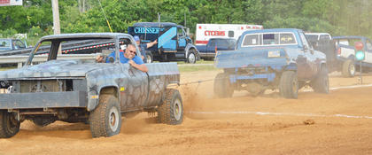 A large crowd came to the fair to see the truck tugger event.