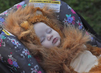 Aspen Kenyon, the infant daughter of Brian Kenyon and Brooklyn Garrett, sleeps the night away as her family trick or treats along Lebanon Avenue Tuesday night.