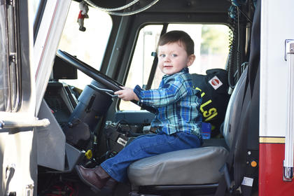 Max Smith, 2, enjoyed the fire trucks at the Pancake Breakfast