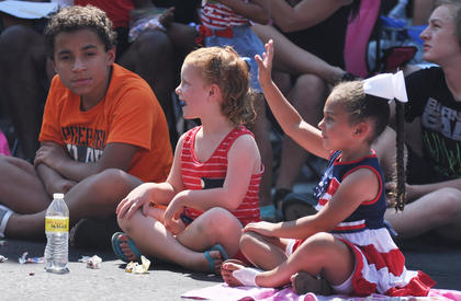 Children watch Wednesday's parade.