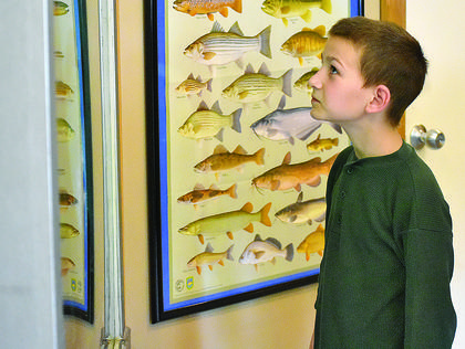 Nine-year-old Luke Reid checks out the fish inside the 1,500-gallon aquarium at the Green River Lake Visitors Center.