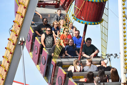 Fairgoers enjoy one of many rides from James Gang Amusements at the Taylor County Fair.