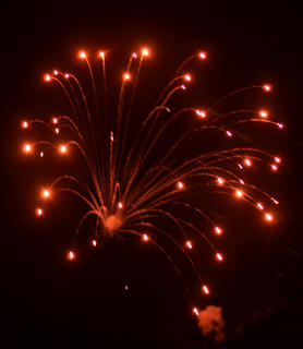 The community's celebration events on July Fourth ended with a fireworks show that lit up the night sky.