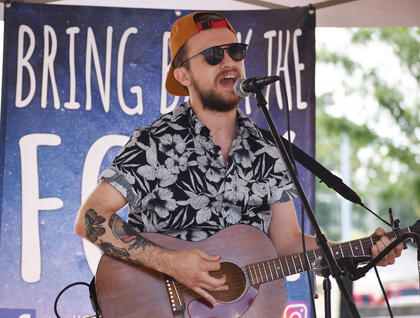 Justin Nelson, from Nashville, performs at Folk Fest in Downtown Campbellsville.
