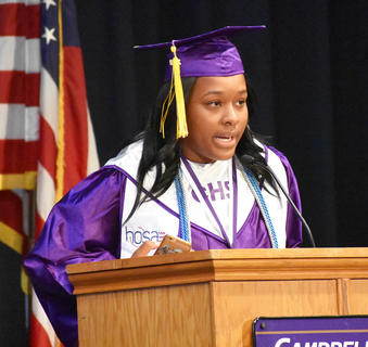 CHS Senior Kayla Young delivers the invocation at the CHS Graduation ceremony Saturday morning.