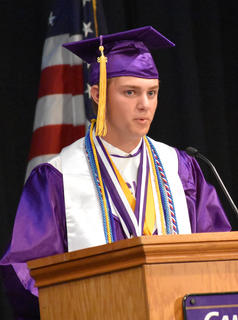 CHS Senior Alex Doss delivers the salutatorian address at CHS graduation.