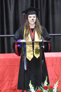 TCHS Senior Class President Lexi Raikes addresses her fellow students at TCHS Graduation.