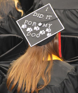 A TCHS student decorated her cap for Friday's graduation ceremony.
