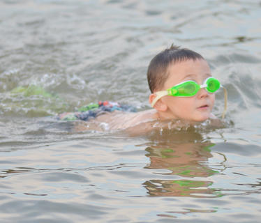 Marcus Guenthner came with to the lake with his family from Vine Grove for some swimming.