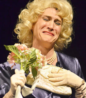 Miss Adelaide, played by Robin Humphress of Campbellsville, cries as she realizes that her fiancé of 14 years, gambler Nathan Detroit, may never marry her.